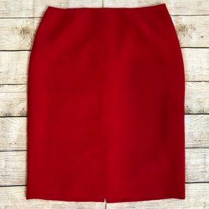 Escada 100% Wool Pencil Skirt Red Sz 42 = US 12
